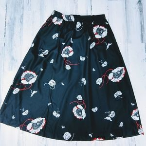 Vintage 70s 80s Union Label Floral Midi Skirt